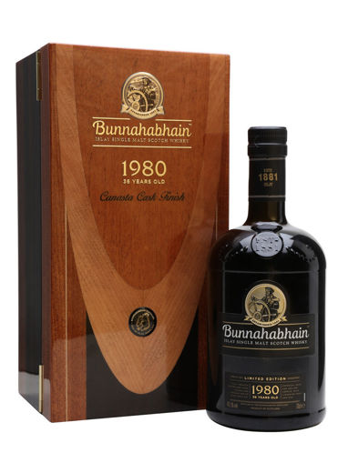 Slika Bunnahabhain 36 Years Old Islay Single Malt Scotch Whisky Canasta Cask Finish 1980 49,5% Vol. 0,7l in Wooden case