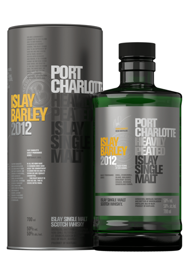 Slika Port Charlotte ISLAY BARLEY Heavily Peated Islay Single Malt 2012 50% Vol. 0,7l in Tinbox
