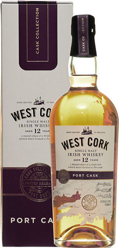 Slika West Cork Single Malt Irish Whiskey PORT CASK FINISHED 43% Vol. 0,7l in Giftbox