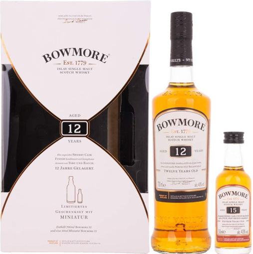 Slika Bowmore 12 Years Old Islay Single Malt Scotch Whisky 40,2% Vol. 0,7l in Giftbox with Bowmore 15 Years Old 0,05l