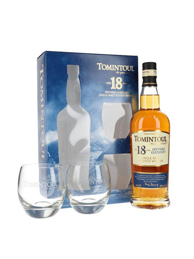 Slika Tomintoul 18 Years Old Single Malt Scotch Whisky THE GENTLE DRAM 40% Vol. 0,7l in Giftbox with 2 glasses